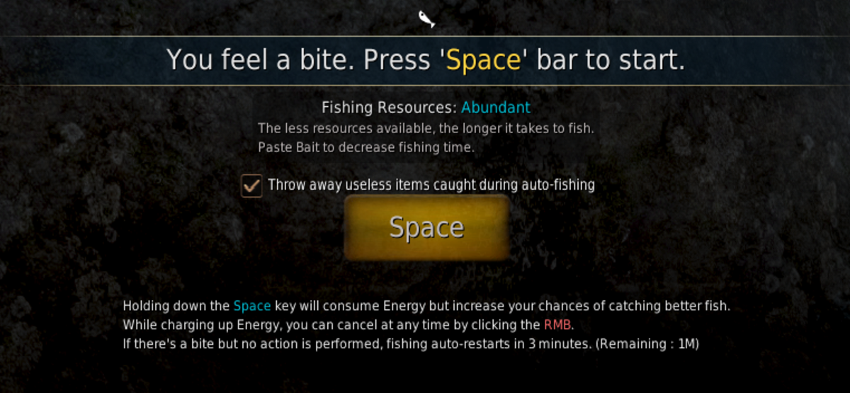 This will appear at top of screen when fishing pole is being used.