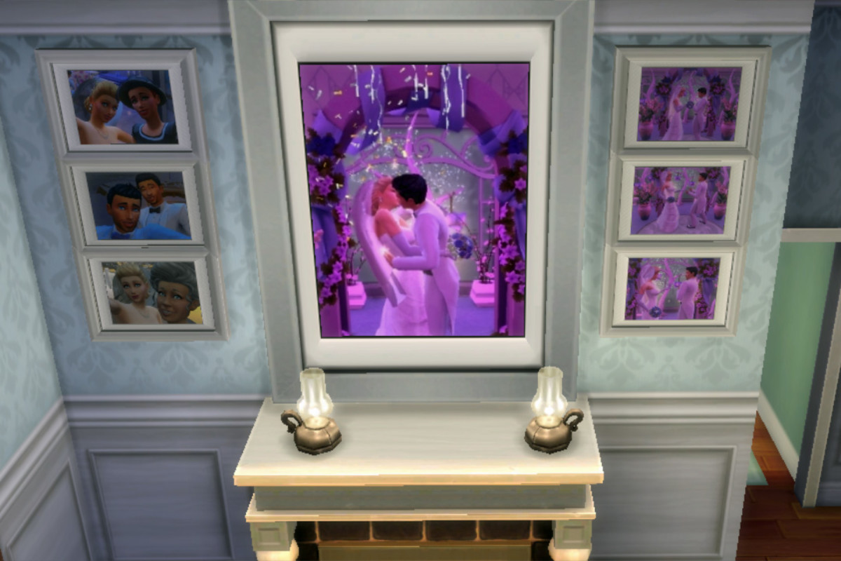 My newlywed Sims are so happy to have their bedroom wall decorated with their wedding photos; thanks to the photography skill, they can.