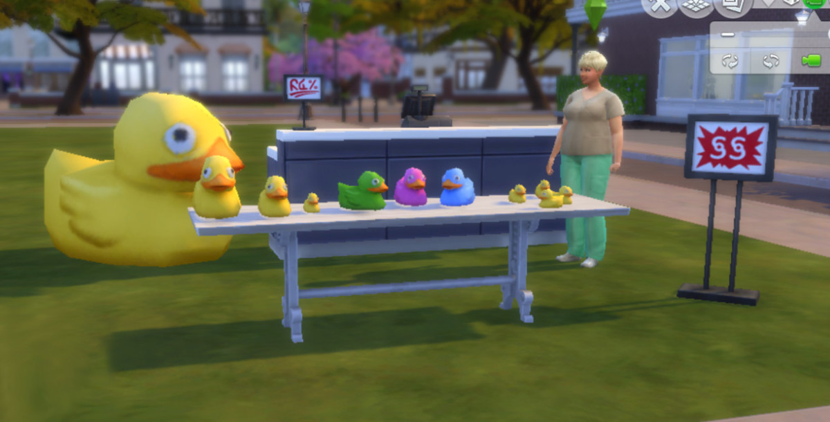 This Sim is operating a simple roadside rubber duck stand. With effort and a little luck, she may own a huge rubber animal emporium one day.