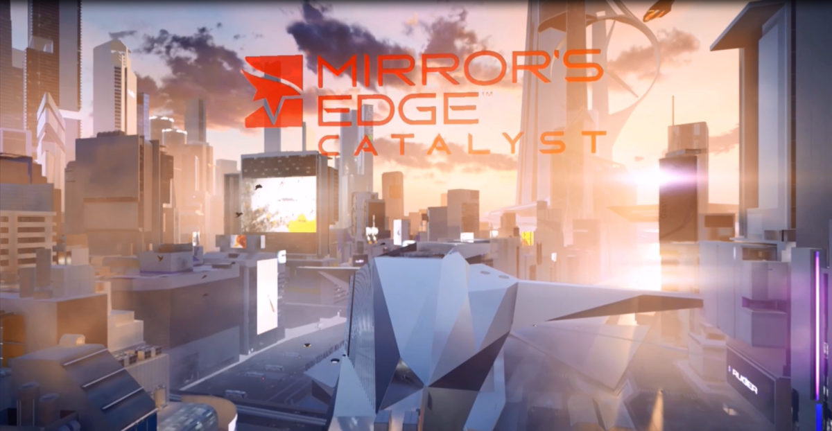 The title card for Mirror's Edge Catalyst, rendered in-game upon completion of the game's tutorial mission.