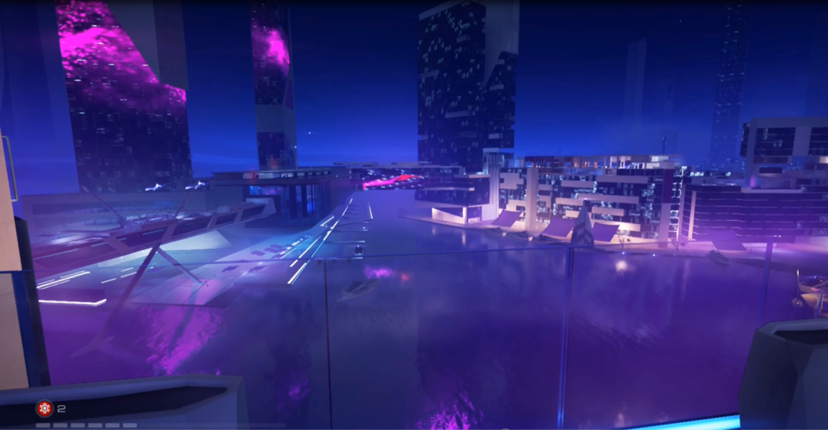 Mirror's Edge Catalyst contains several districts of varying styles and aesthetics. Ocean Pier, as shown above, is one of the more affluent parts of the city of Glass that players can explore.