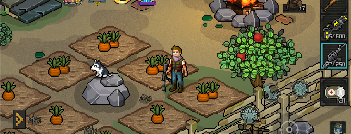 Visit the camp  every hour to check on your crops. Don't worry, the camp is guarded.