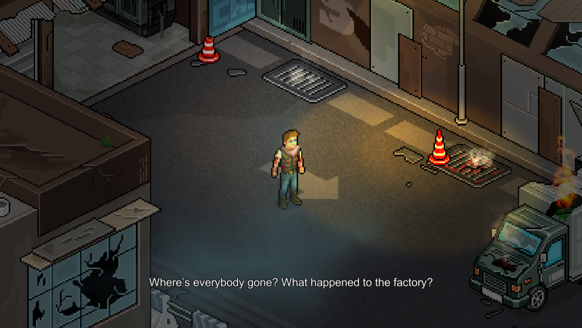 You start the game as this guy, who just woke up in the middle of a zombie apocalypse.