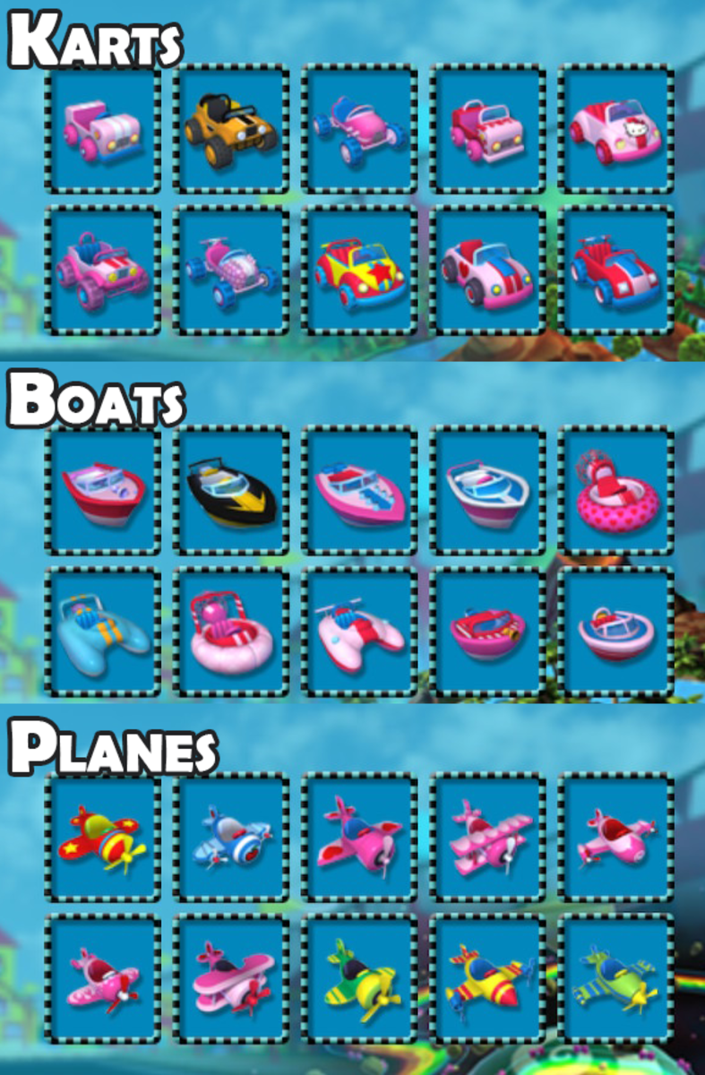 "All karts (cars), boats, and planes available in ""Hello Kitty Kruisers."""