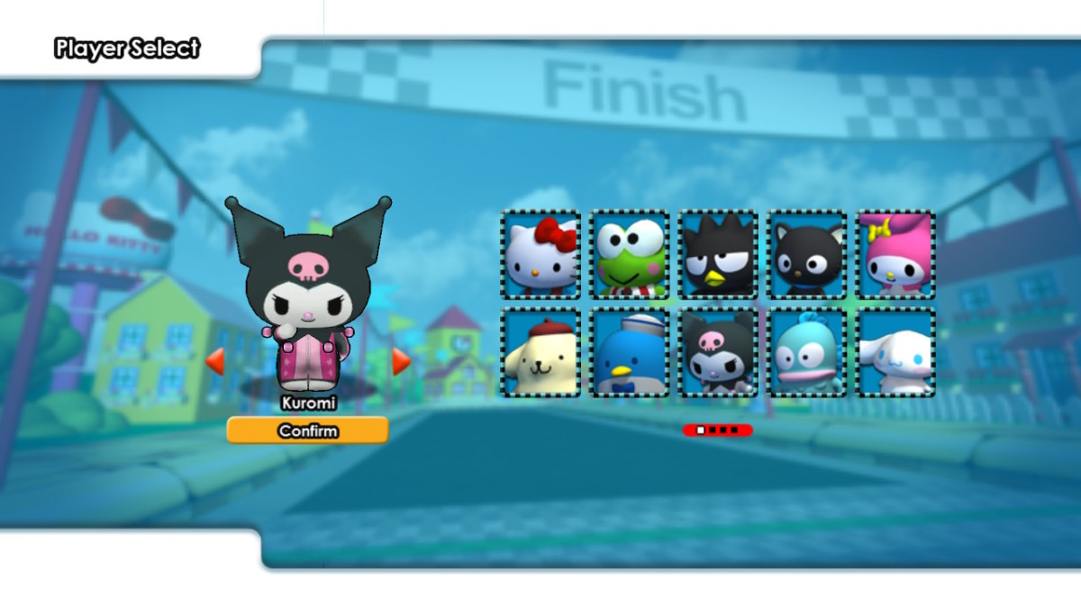 "The entire roster of Sanrio characters available in ""Hello Kitty Kruisers."""