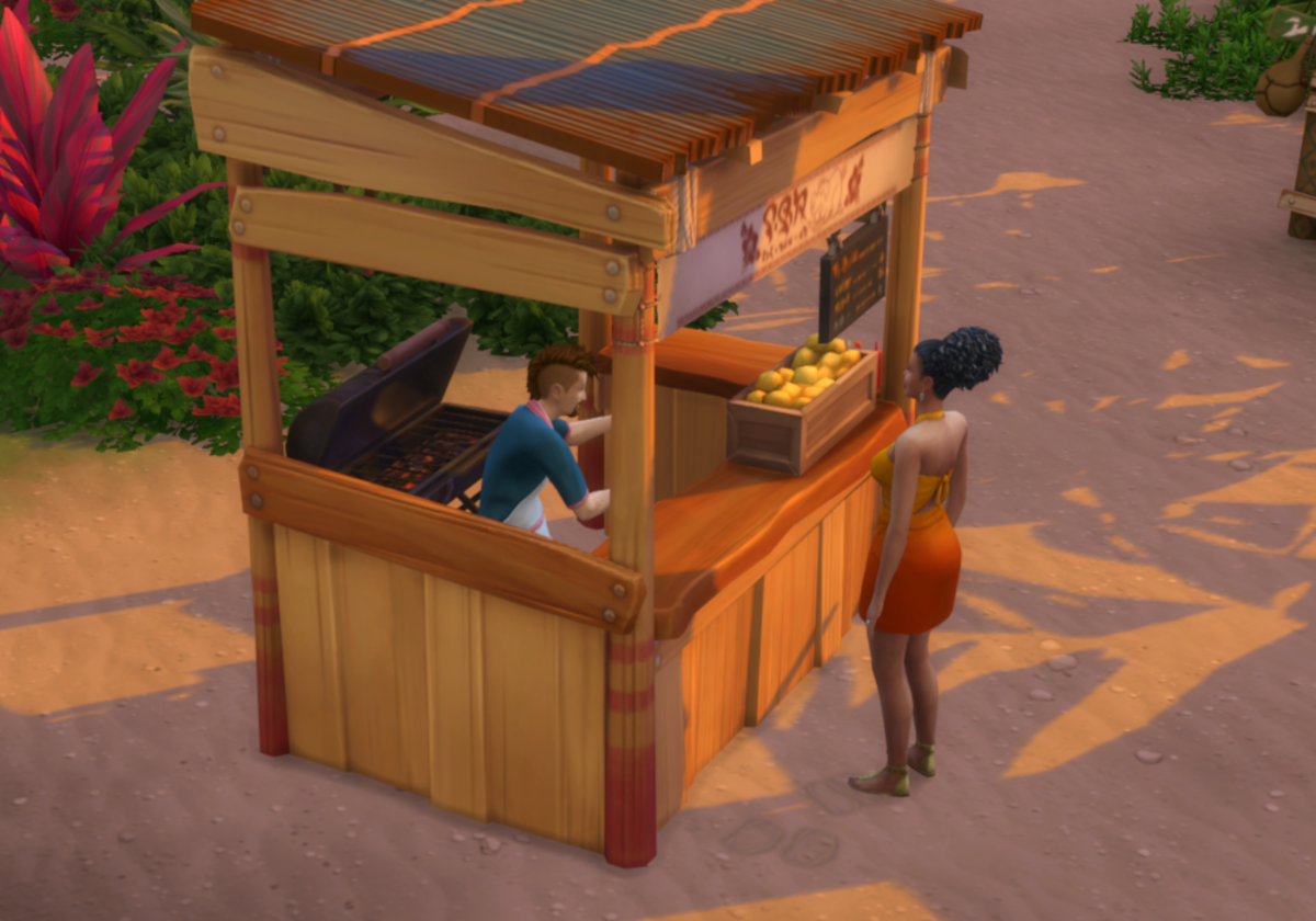 Food stalls and Beach Supply vending machines are scattered all over the neighborhoods! The Food Stalls each contain a different menu, all island themed!
