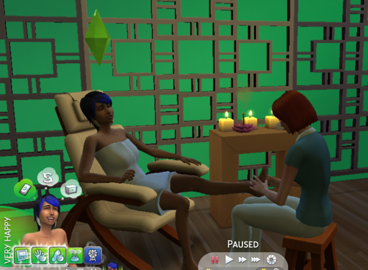 She's still mourning, but the sad moodlet has been overtaken by all the happy moodlets her spa visit gave her.