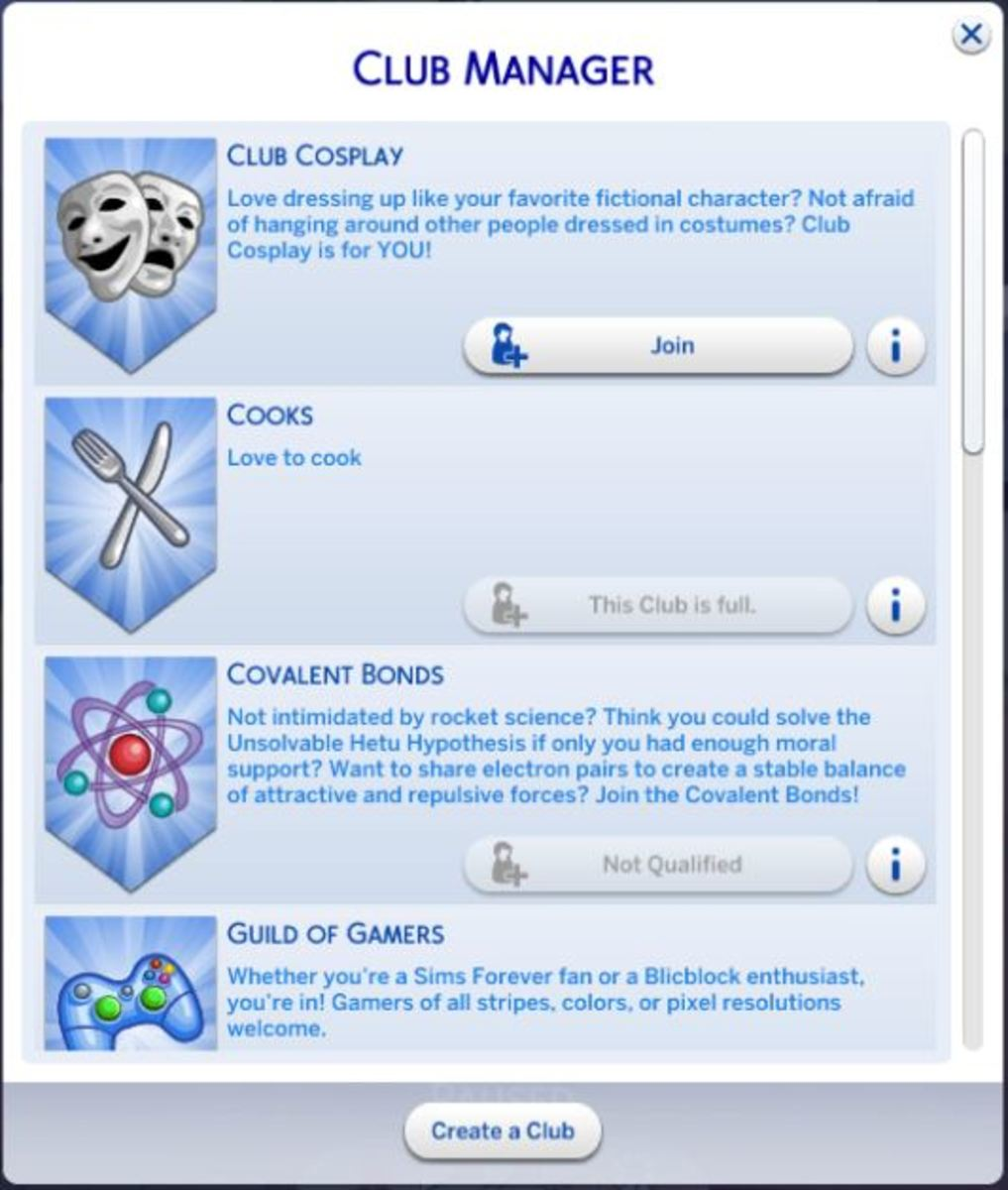You will definitely want your Sim to join a club.