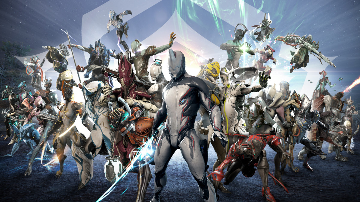 A collage of some of the many Warframes the player can utilize.