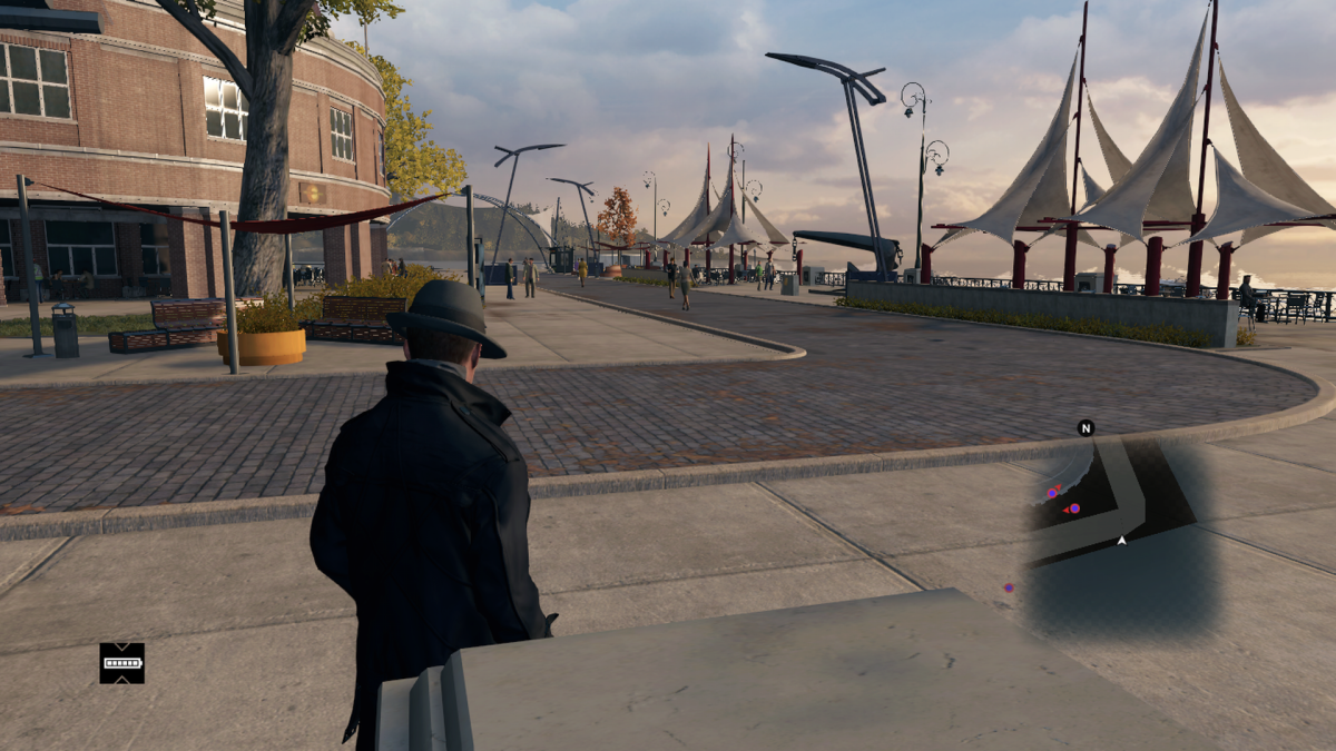 The far end of Navy Pier in-game.