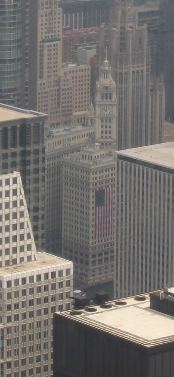 The Wrigley Building from the top of Willis Tower. Picture taken in July 2015.