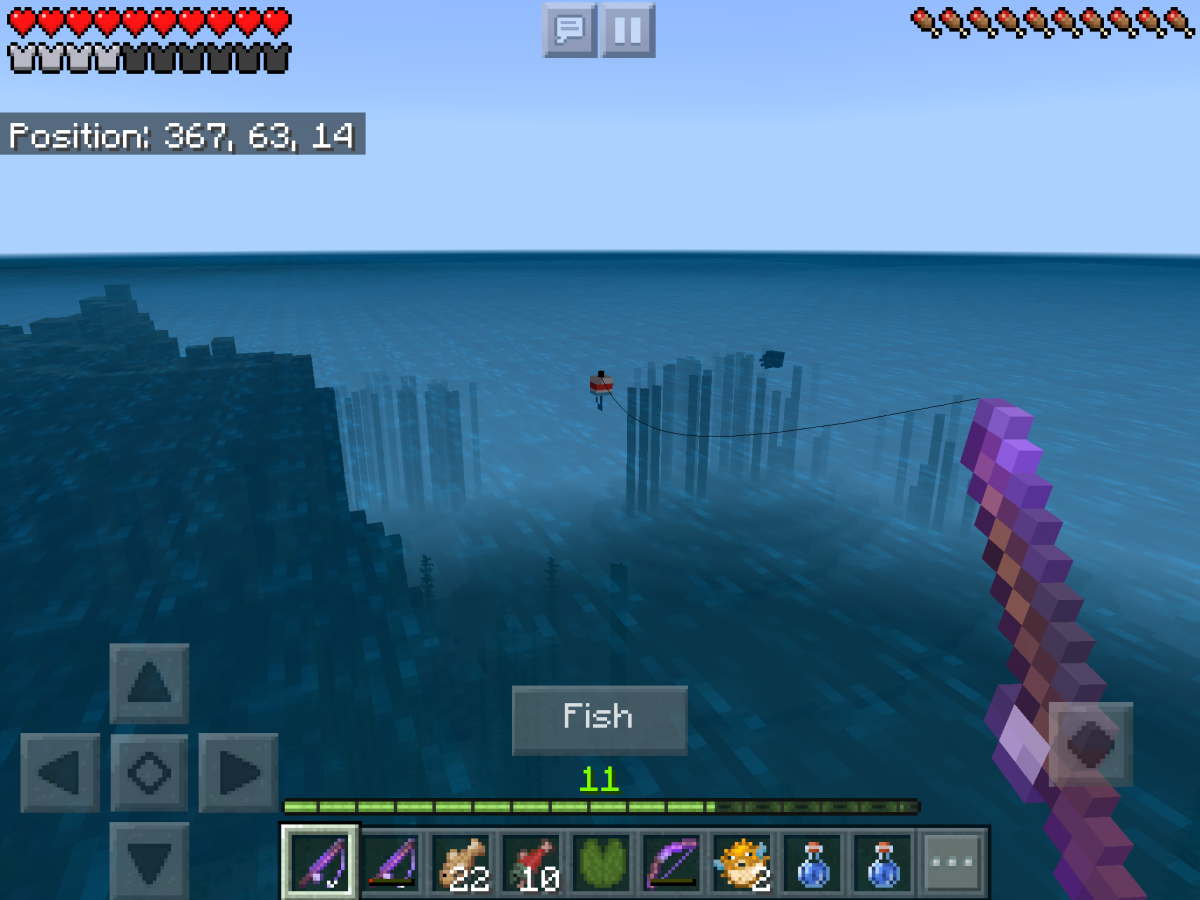 "To fish in the PC version of ""Minecraft,"" right click near water. To fish in the mobile version, simply press the 'fish' icon."