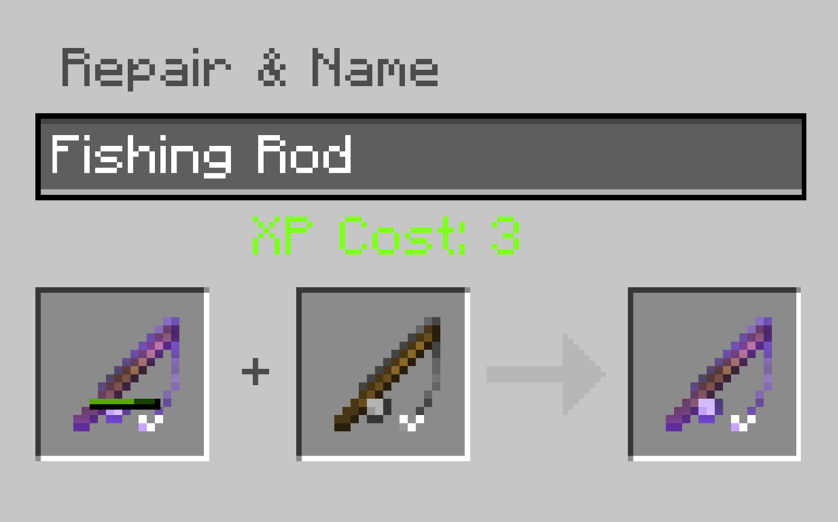 "Repairing a fishing rod in ""Minecraft"" only requires an anvil and a new fishing rod."