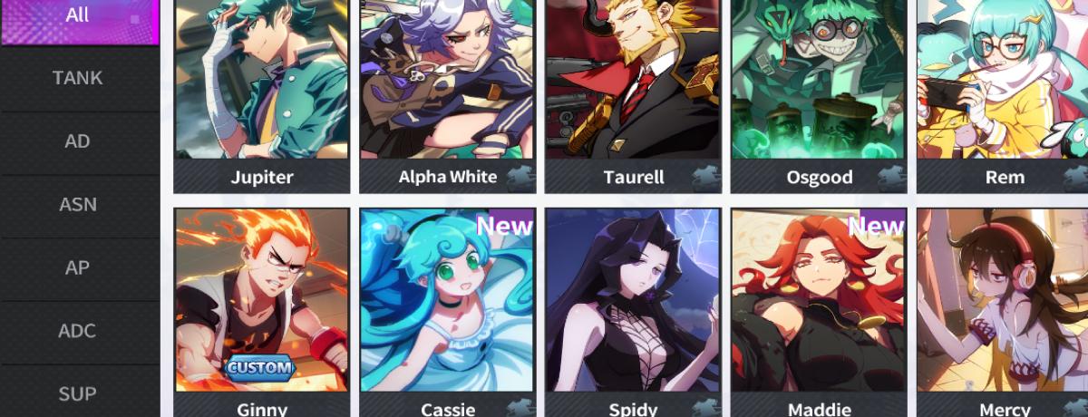 The hero selection screen.