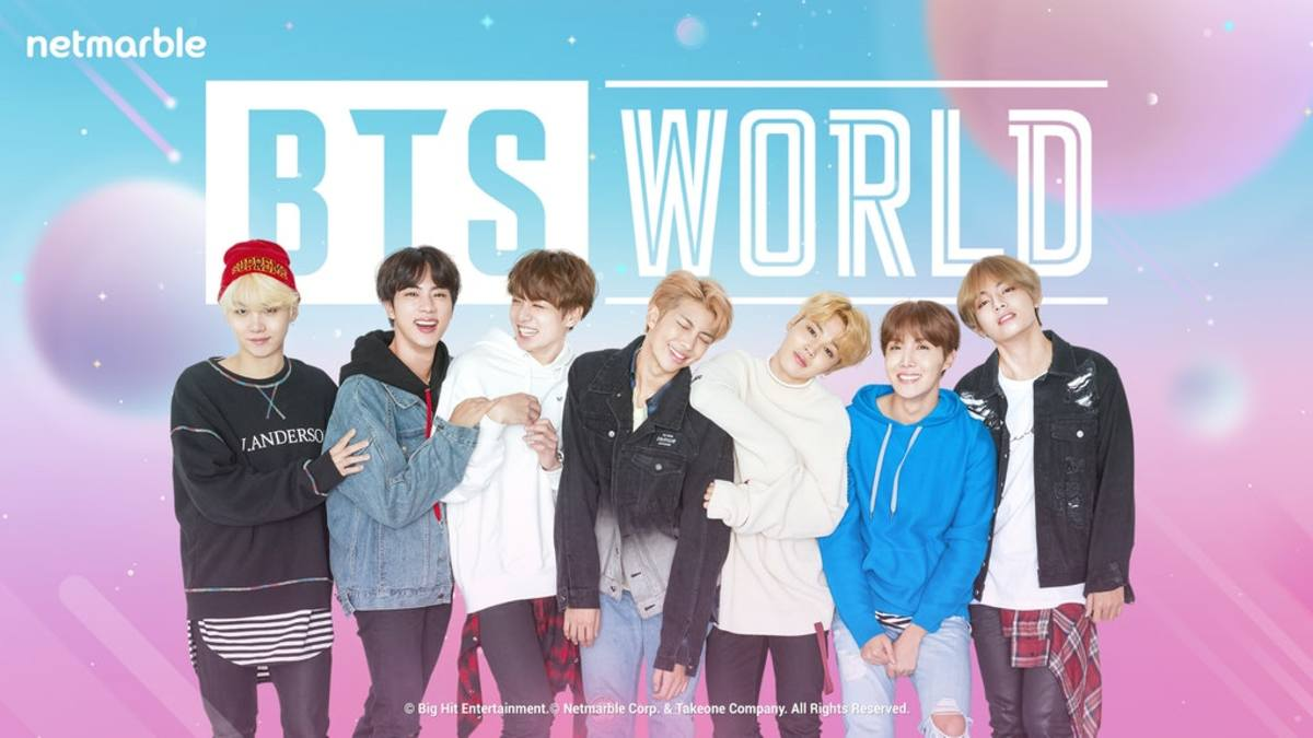 "The opening screen for ""BTS World."""