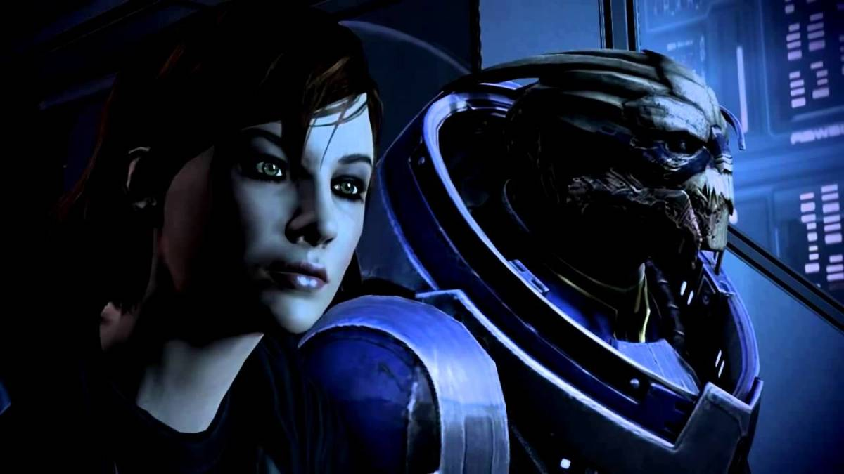 "Garrus and Shepard go on a date in ""Mass Effect 3."""