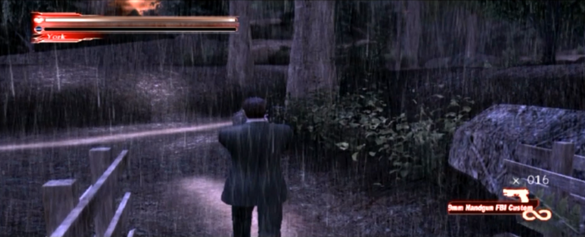 Francis York Morgan in the Wood Path segment of Greenvale. Note the red user interface which replaces the white one from the original release.
