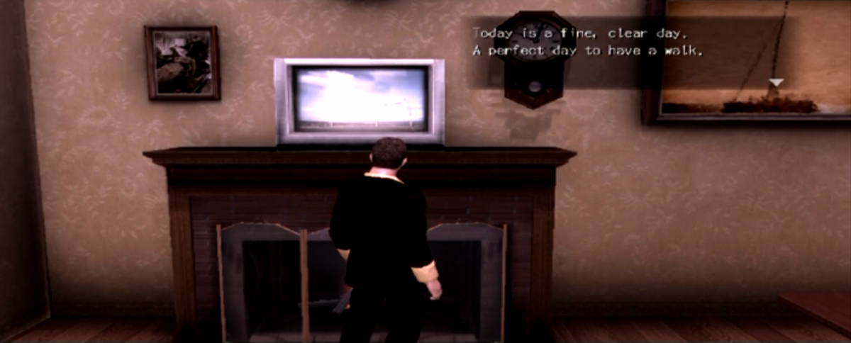 York checking the television for the weather forecast. Greenvale's weather system changes daily with some side-quests locked to certain times of day and weather conditions.
