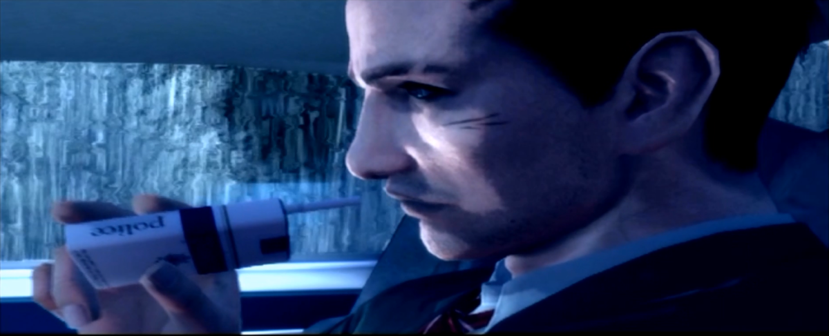 The player character, FBI agent Francis York Morgan, en route to Greenvale. The 'Police' cigarettes he is smoking in this scene are actually not available in-game. Instead, they are replaced by a red-box brand known as 'Heavy'.