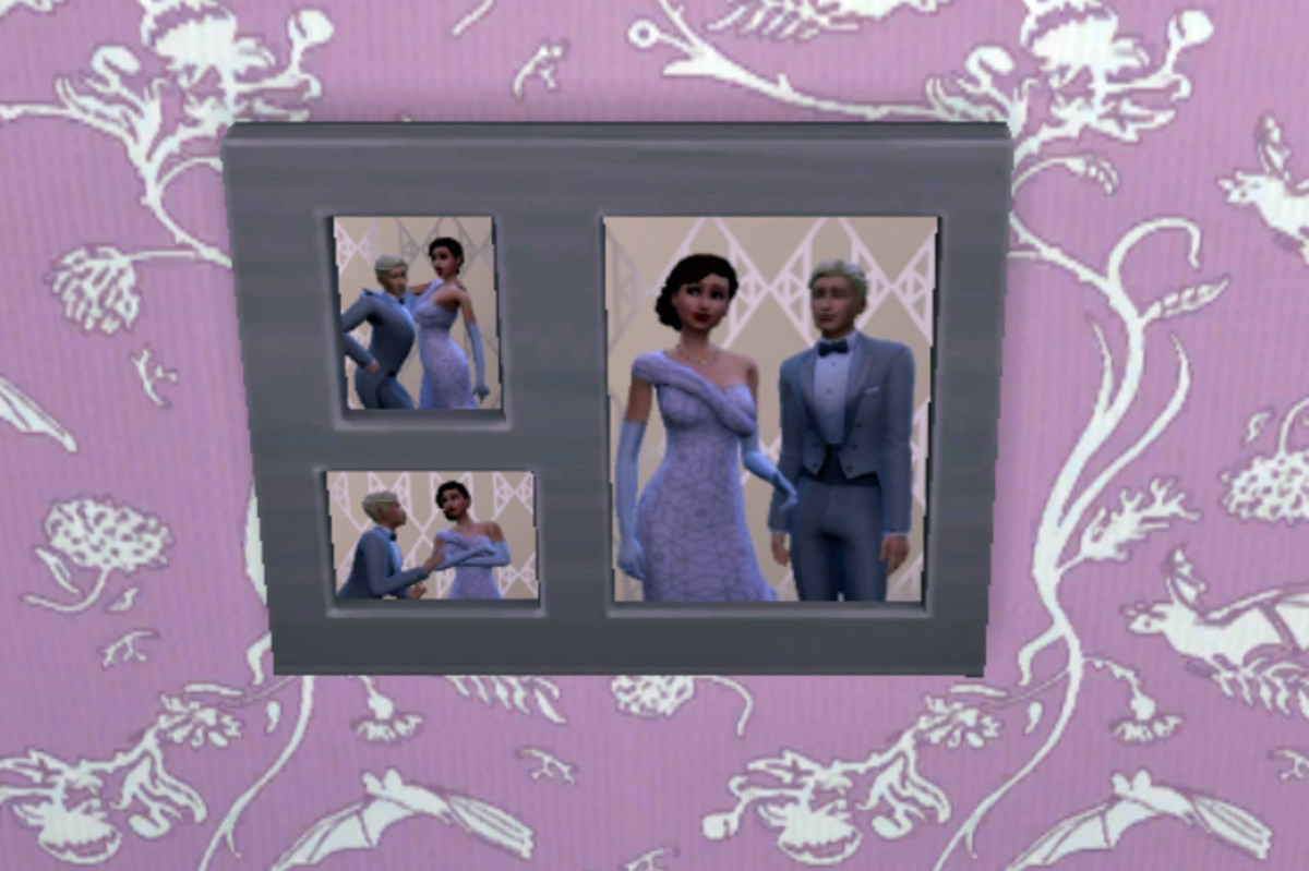 """These photos are displayed in the new Collage Photo Frame from the """"Moschino Stuff"""" pack."""