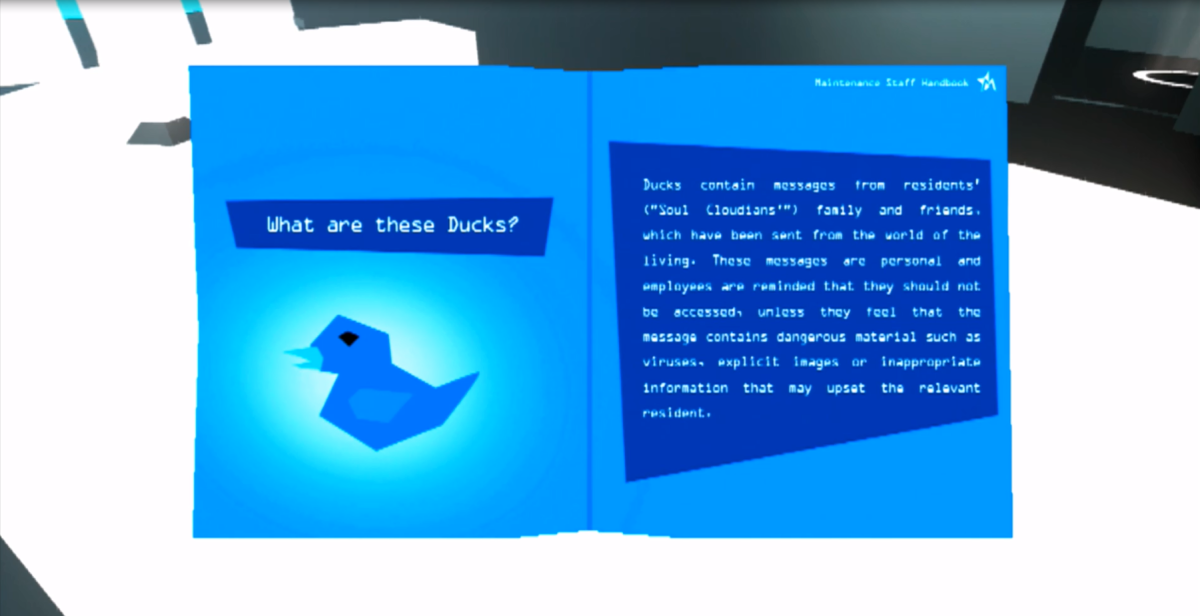 Blue ducks are another optional collectable that are scattered throughout the game. These serve as a way to explore more of the story through bonus images, articles and notes that detail more in-depth information.