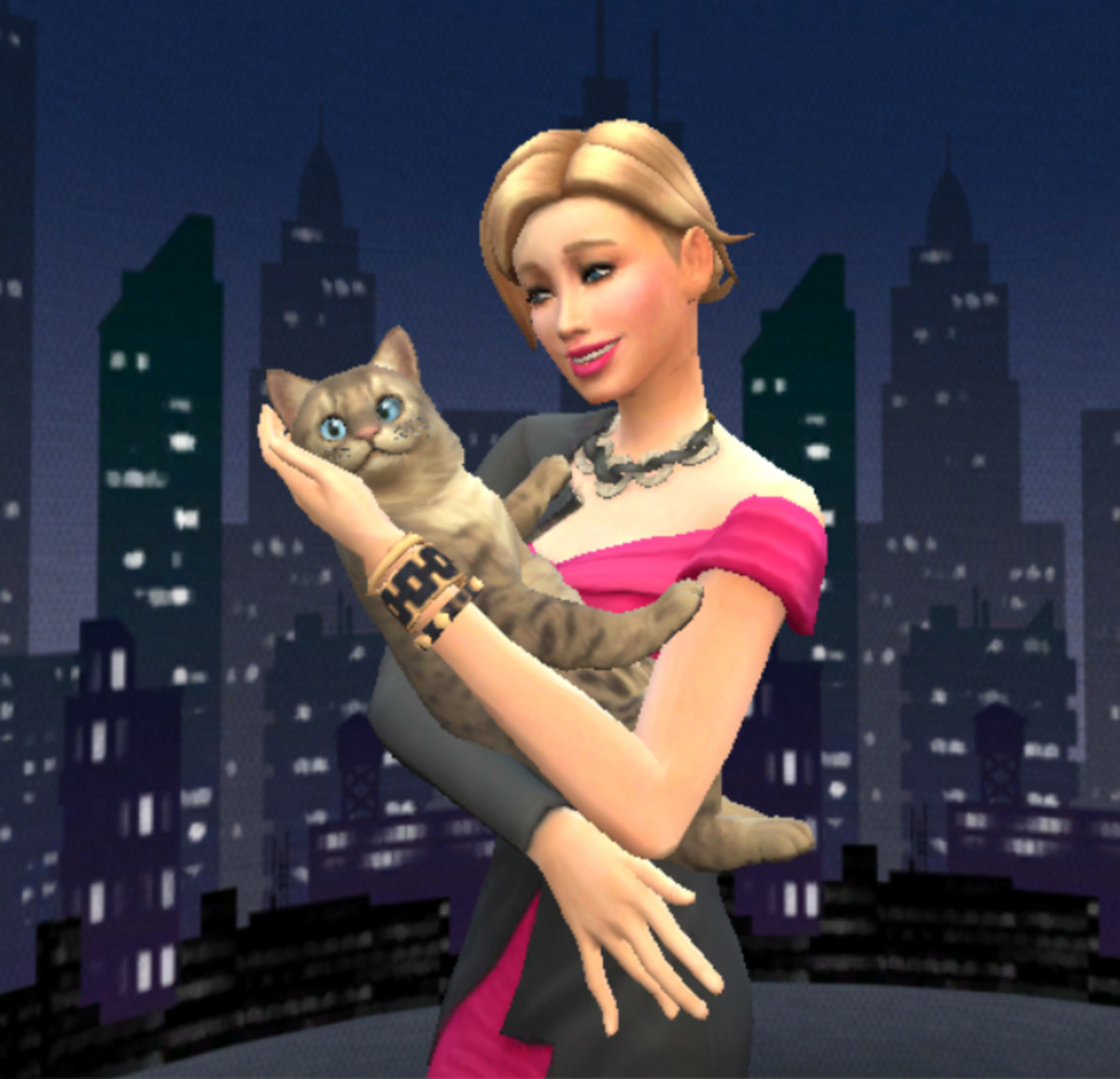 "If you have ""The Sims 4: Moschino Stuff"" pack you can get a tripod that allows you to pose for photos with your pet."