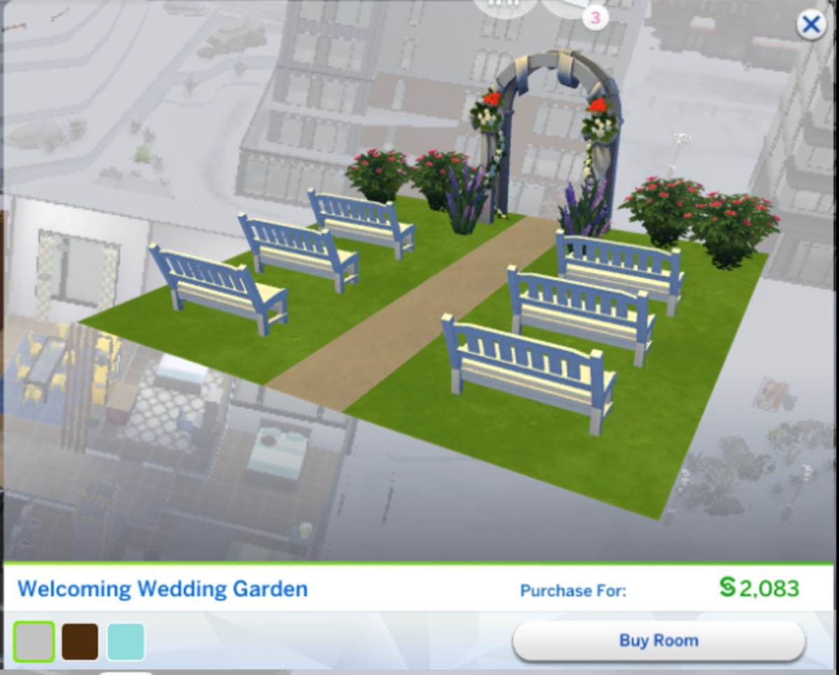 "The ""Welcoming Wedding Garden"" is a pre-made room that you can purchase in build mode."