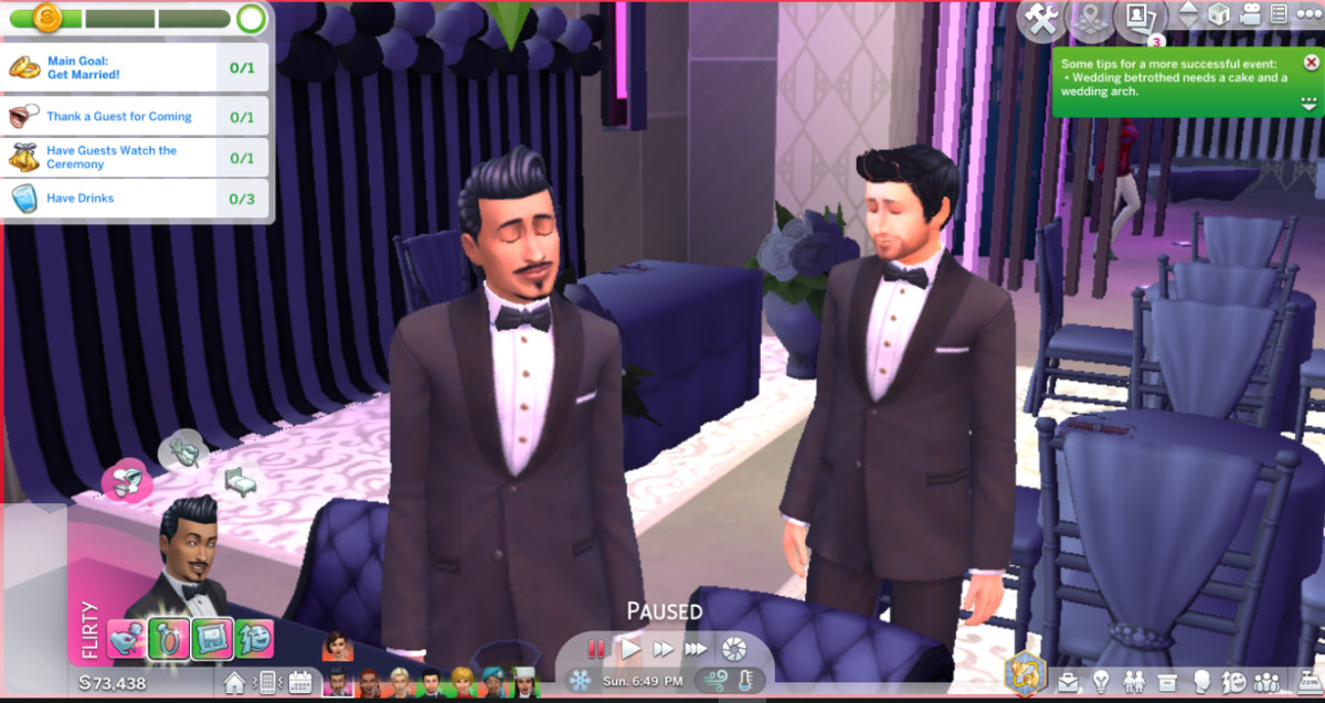 Use both your Sims who are getting married to divide and conquer the interaction requirements. Queue them each up to perform the interactions.