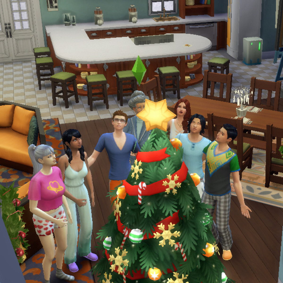 """A family stands around the holiday tree at Winterfest singing """"Fwingle Zibbs"""" together."""