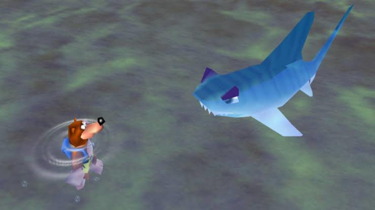 Snacker the Shark comes straight for you if you jump into the water