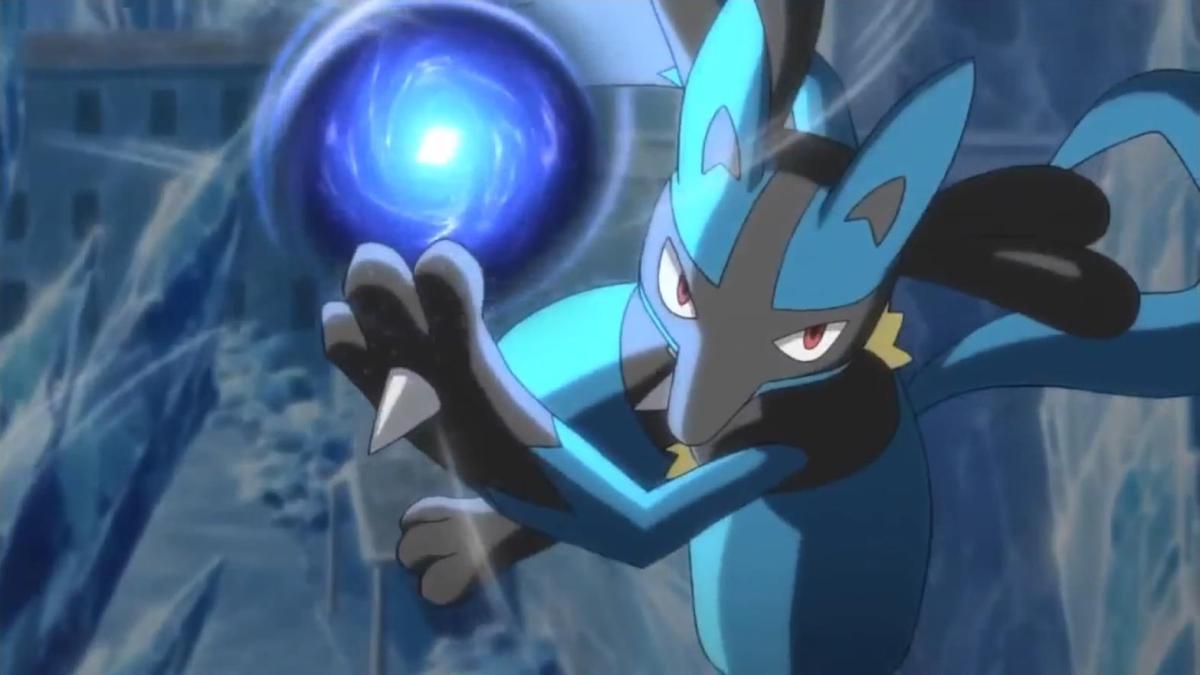 Lucario using Aura Sphere
