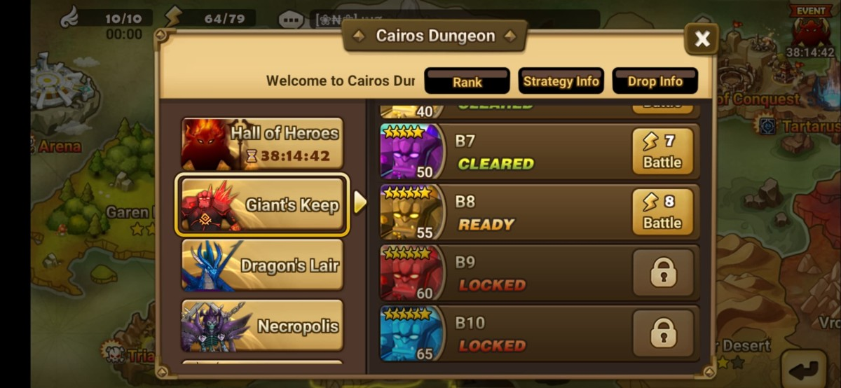 Each of Giant's Keep floor levels in Caiross Dungeon shows the max lvl of the boss.