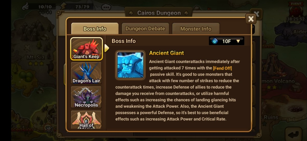 """The Giant's Keep strategy info as shown in """"Summoner's War""""."""