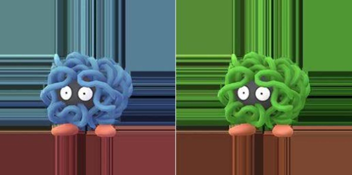 A regular Tangela next to its Shiny version