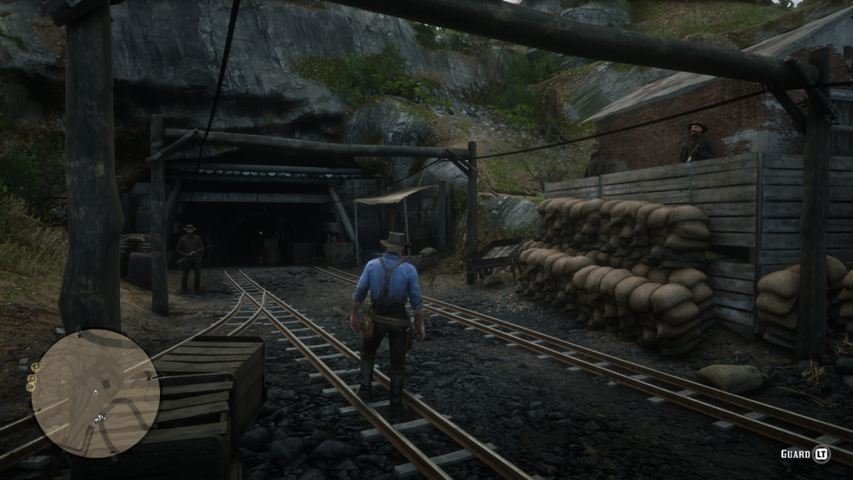 There should be three guards at THIS entrance to the mines. Make sure to save your game before this.