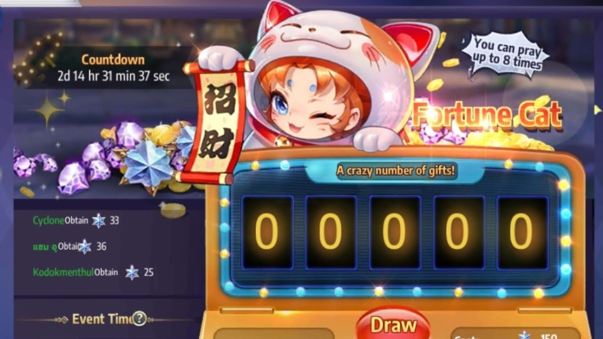 Save and multiply your advanced gems in the fortune cat event.