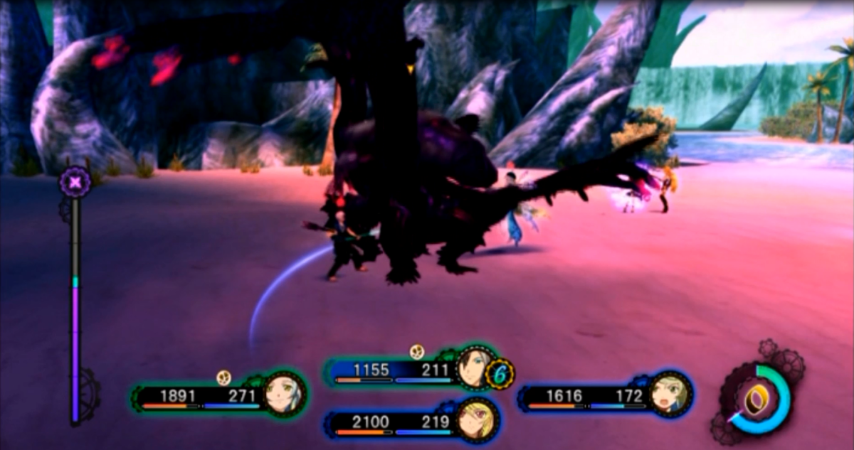 The party engage in battle with the Seafall Phantom, one of the main story bosses in Tales of Xillia 2.