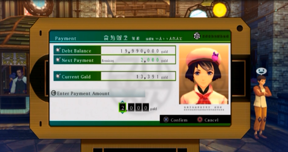 Ludger's friend, Nova, collecting on his outstanding debt. Nova periodically calls from Verland Bank in order to check up on Ludger's progress and request payment if he is holding onto too much gald. This unlocks more locations to visit.