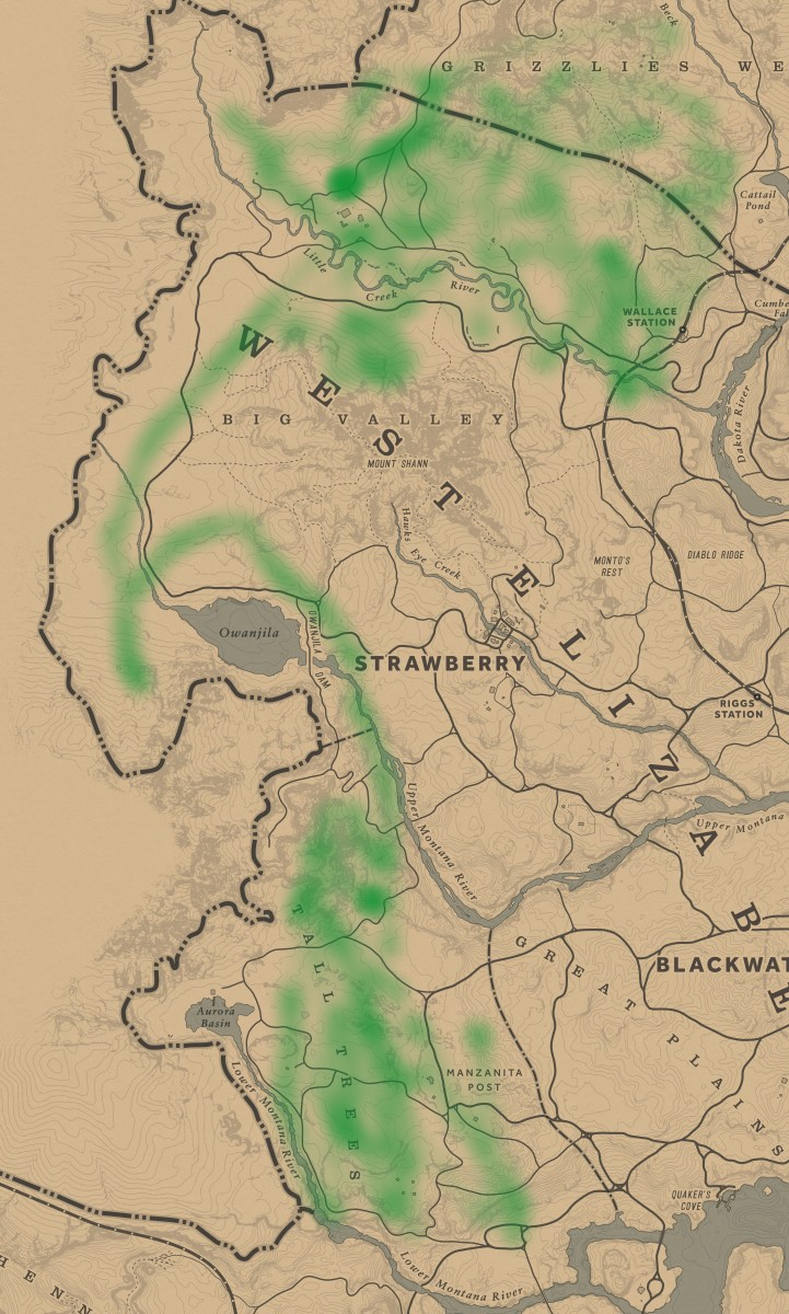 Everywhere marked green is where you can find Elks.
