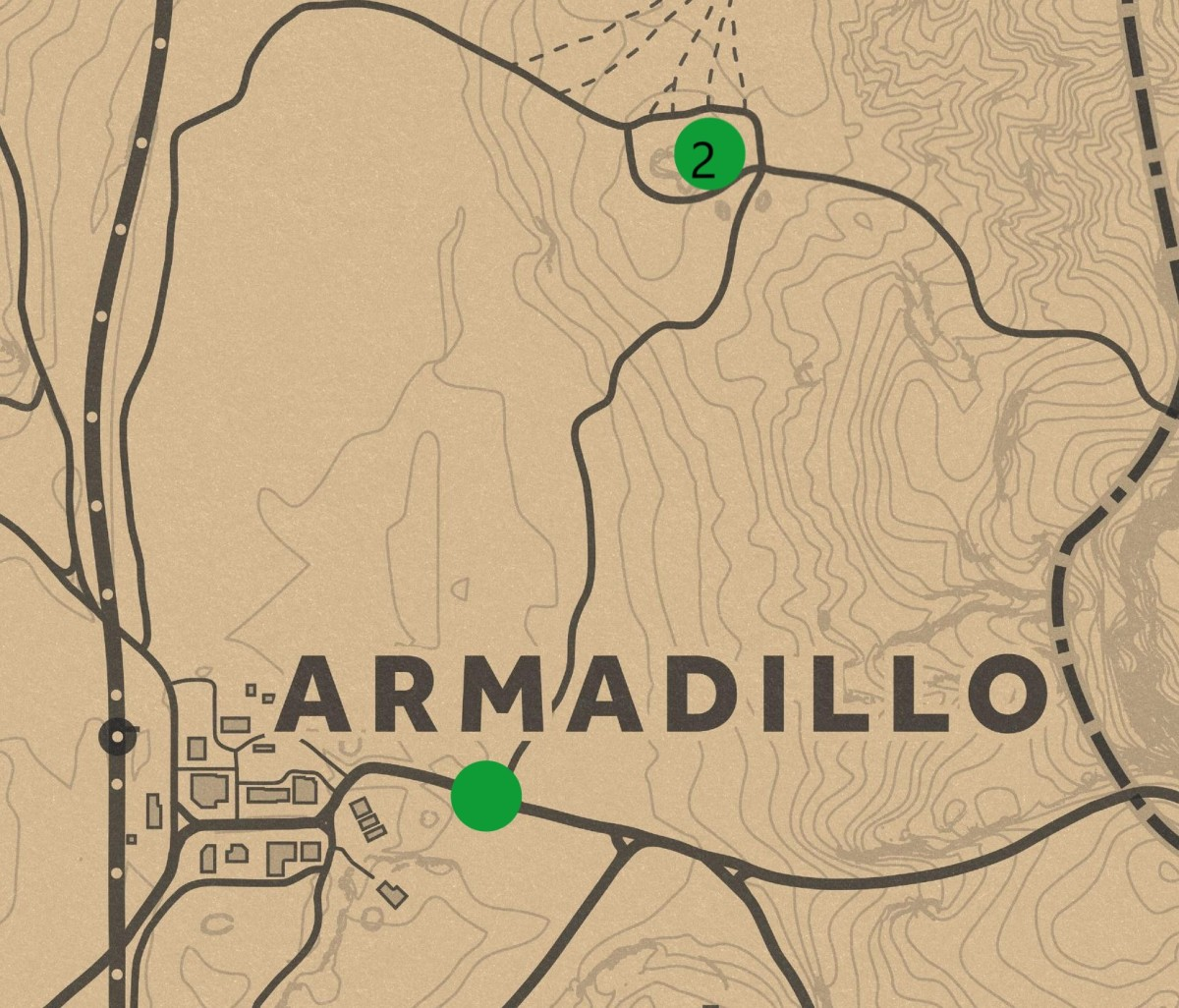 The lower green dot is the sign post leading to Armadillo. Hanging Rock is represented by the upper green dot.