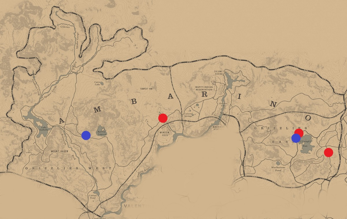 All Ambush and Escort locations in Ambarino. Not that there's many . . .