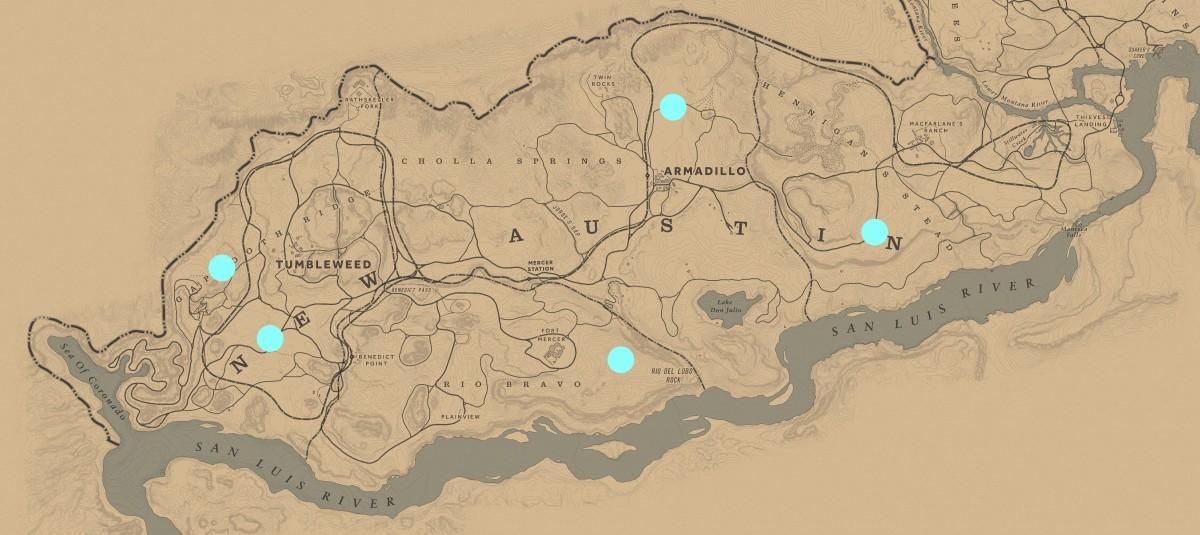 All New Austin Campsite Defense locations.