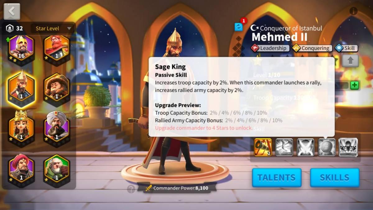 Mehmed II's Skill Description