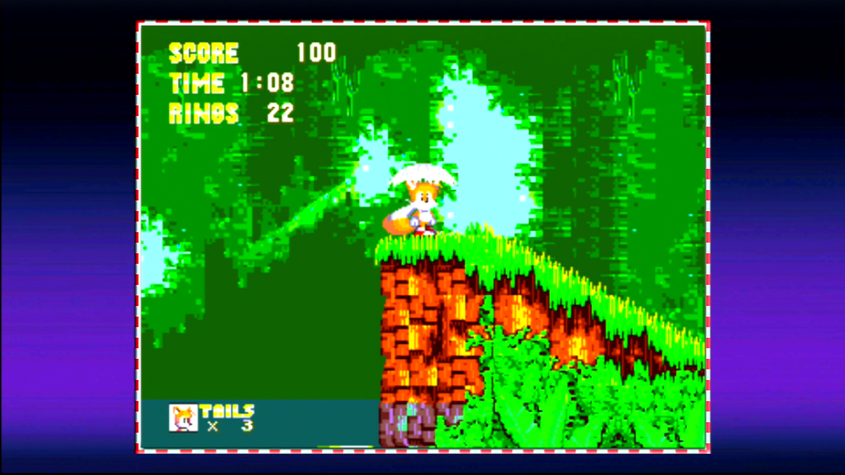 "Tails can be seen here in ""Angel Island Zone"" from ""Sonic the Hedgehog 3"" with the level timer, current score, max lives and total rings collected displayed."