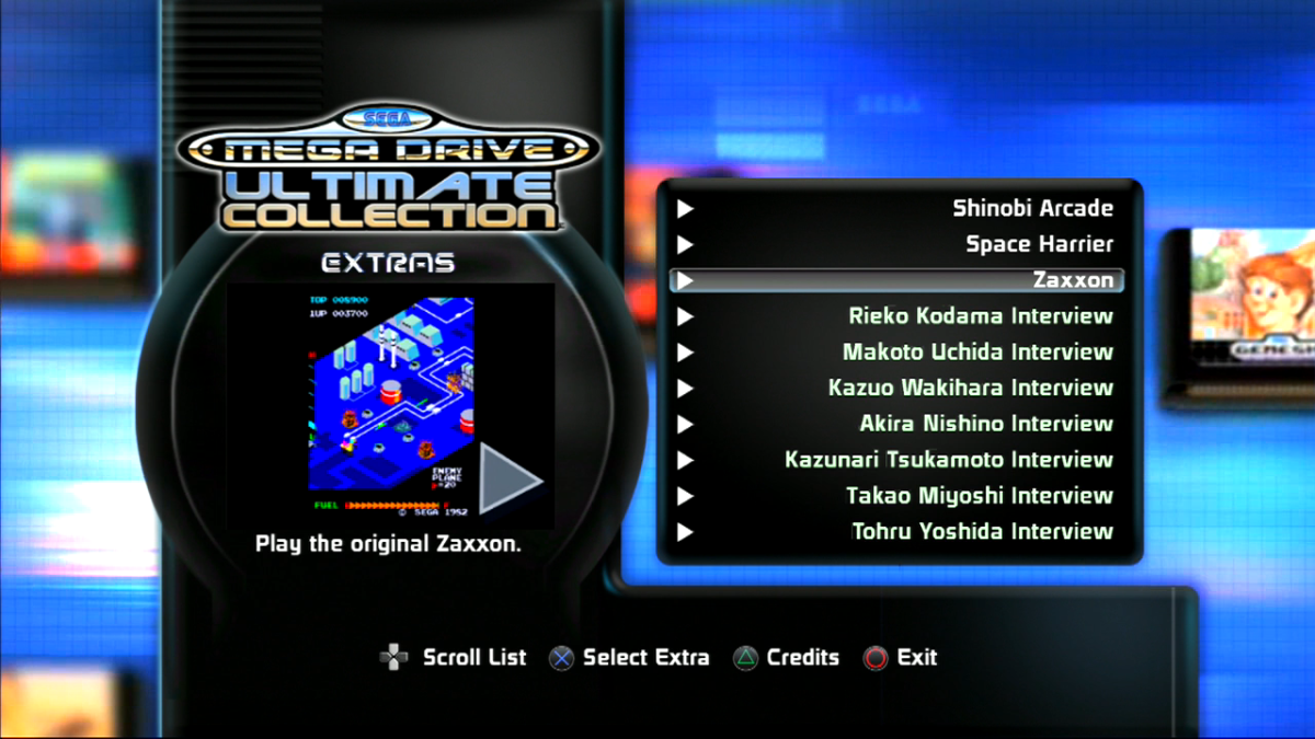 "The ""SEGA Mega Drive Ultimate Collection's"" Extras Menu. This menu contains several unlockable arcade games and developer interviews for players to learn more about particular games or play something a little different."