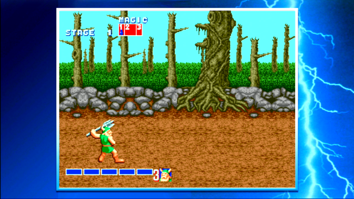 "The ""Golden Axe"" series lets players choose one of several characters to play as. Note the side-scrolling gameplay with health and magic bars for players to keep an eye on in combat."