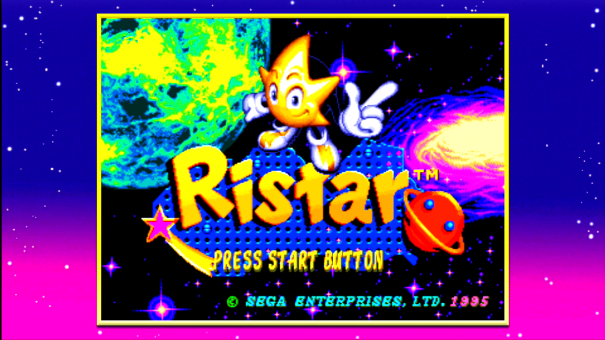 "The title menu for ""Ristar,"" one of several platformer games available in the ""SEGA Mega Drive Ultimate Collection."""