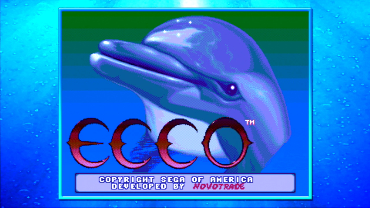 "The title menu for ""Ecco the Dolphin,"" one of the games included in the ""SEGA Mega Drive Ultimate Collection."""
