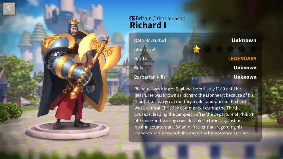 Richard I Profile Page