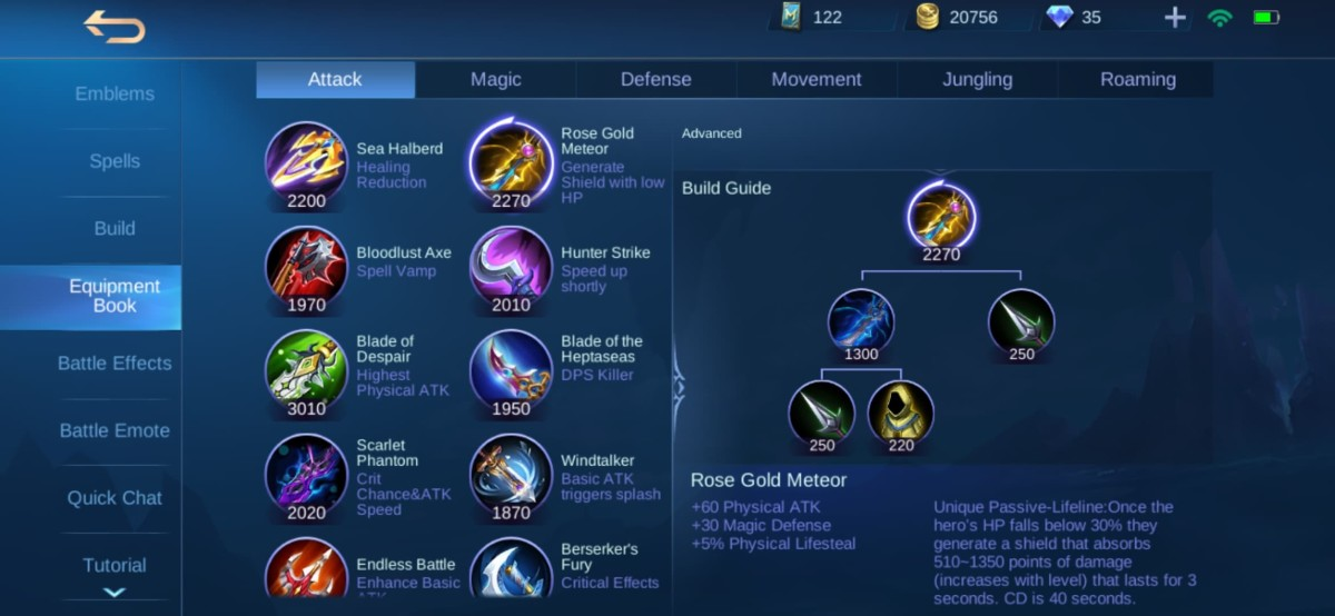 Rose Gold Meteor Equipment Info